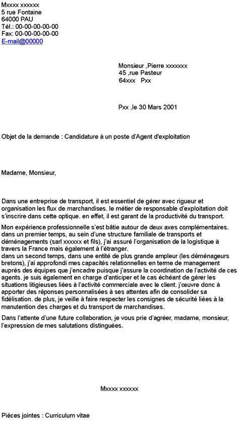 Lettre De Motivation Responsable De Zone Candidature 224 Un Poste D D Exploitation