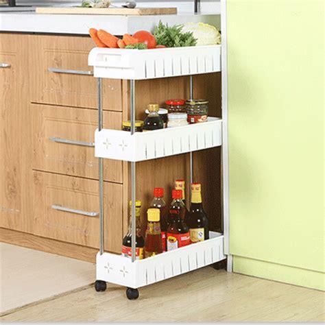 Refrigerator Side Shelf by Removable Storage Rack Shelf With Wheels Bathroom Kitchen