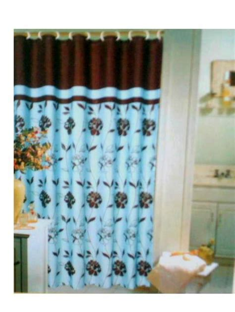 brown floral shower curtain blue brown floral fabric shower curtain popular bath