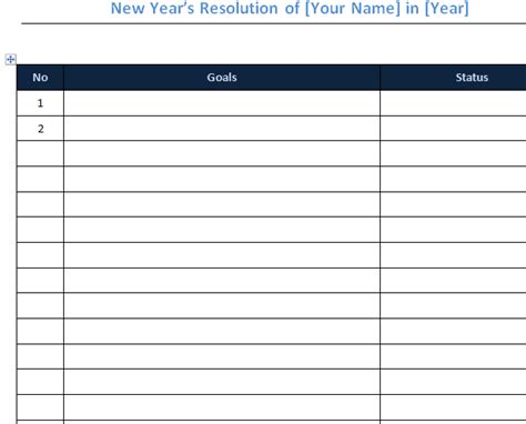 new year s goal checklist 187 template haven