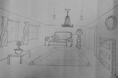 draw a room one point perspective room drawing