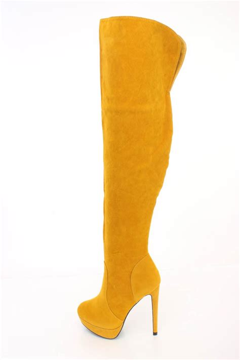 yellow boots yellow thigh high platform high heel boots faux suede