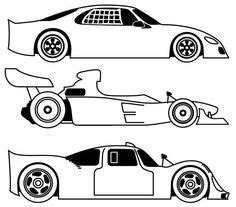 blank race car templates three different race car coloring page free printable