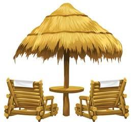 Beach Transparent transparent tiki beach umbrella and chairs png clipart
