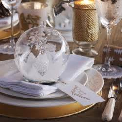 Christmas dining table with crystal bauble place setting traditional
