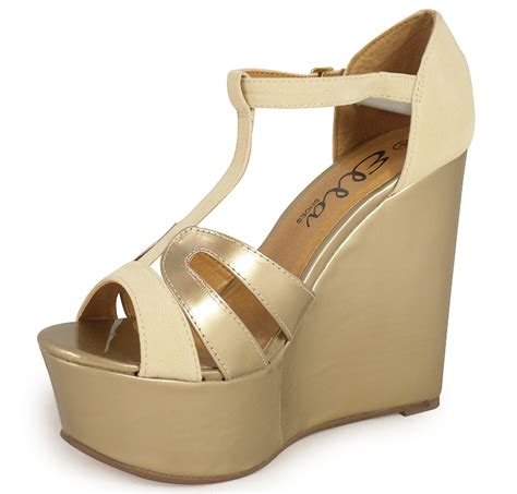 gold shoes size 3 new womens gold suede wedge shoes sizes 3 8 ebay