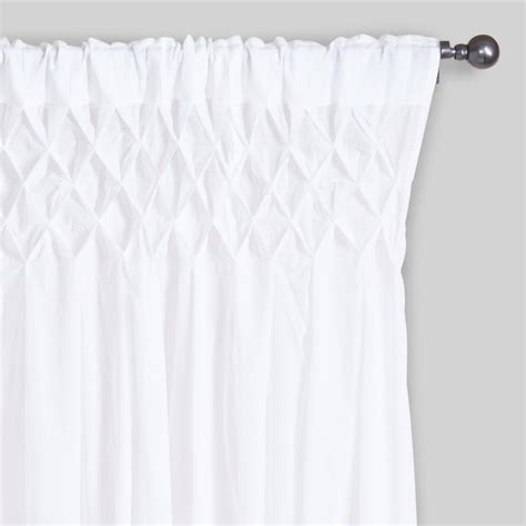 top curtains white smocked top cotton curtains set of 2 world market