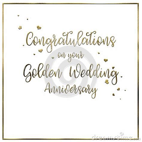 Simple, Golden Wedding Anniversary Card Stock Illustration