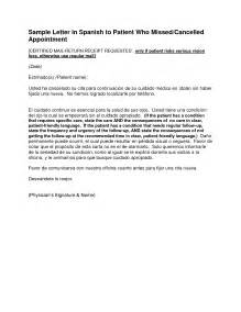 Letter Of Appointment In Spanish Appointment Reminder Letter Spanish Sample Reminder