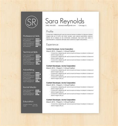 Resume Template Best Design Resume Template Cover Letter Template With Skills Bar