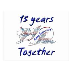 15th anniversary postcard zazzle