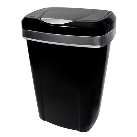 hefty 13 gal black premium touch lid trash can hft