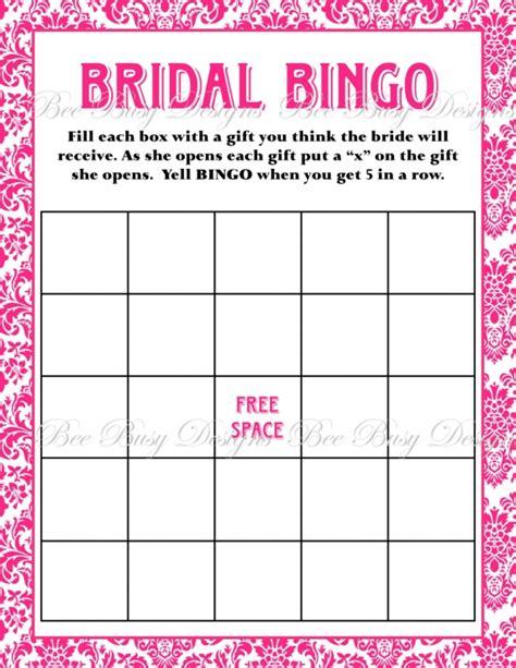 printable bridal shower gift bingo cards printable hot pink damask bridal shower bingo game bee