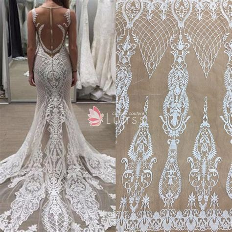 pattern white wedding dress wow high quality ivory abstract pattern embroidered bridal