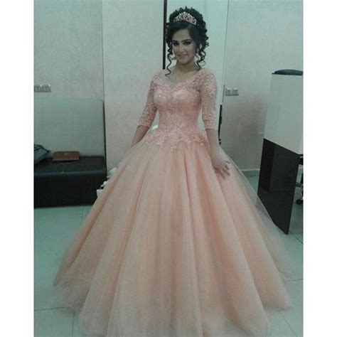 Longdress Arab dress blush pink prom dresses sleeve prom dress