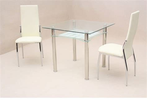 Glass Dining Table For 2 Small Square Clear Glass Dining Table And 2 Chairs Homegenies