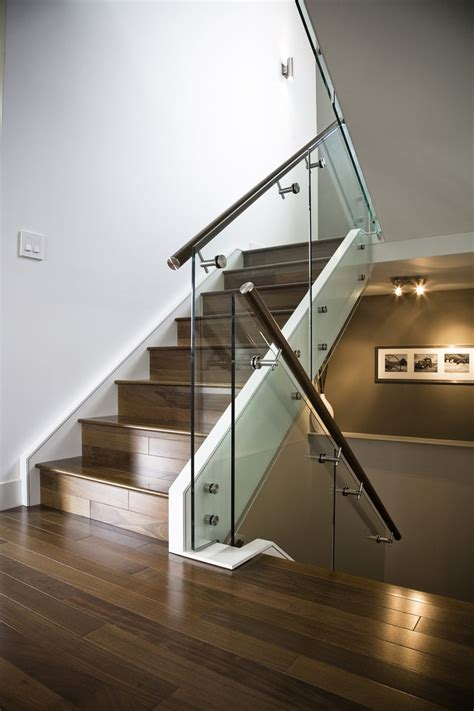 glass banister hand made maple stair with glass railing and stainless