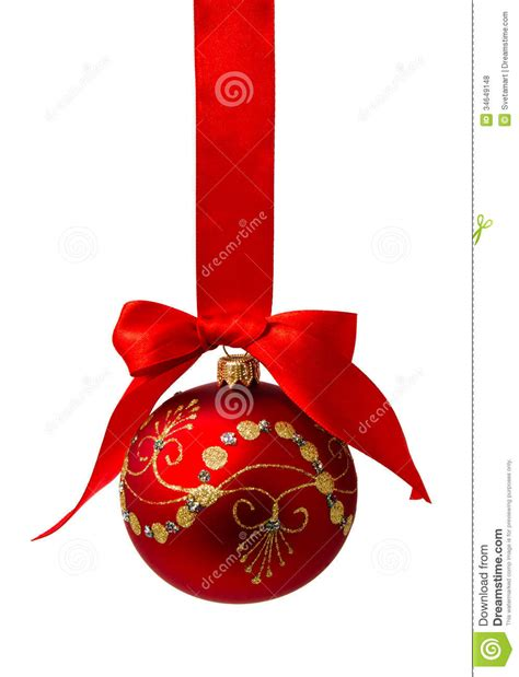red christmas ball with ribbon isolated on a white royalty