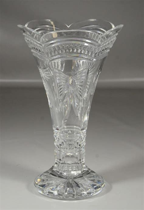 waterford cut footed vase wheat sheaf butterfly h