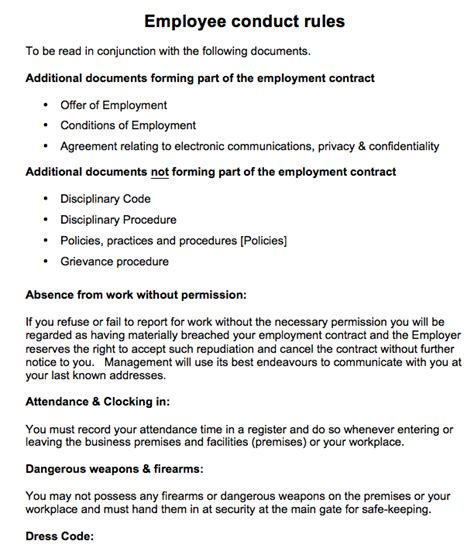 employee guidelines template employee contract free printable documents