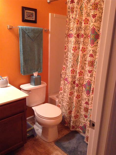 orange and turquoise bathroom my new orange and turquoise bathroom home decor pinterest