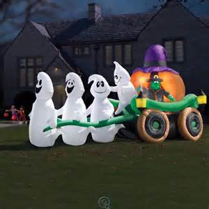 Blow Up Halloween Decorations Yard Inflatable Illuminated Ghastly Stagecoach Outdoor Blow Up