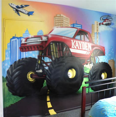 monster truck bedroom monster truck 2012 something like this on his wall