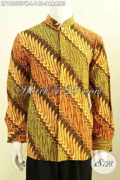 Batik Batik Jawa Tengah batik hem pria kantoran kemeja batik motif parang klasik jawa tengah model krah shanghai