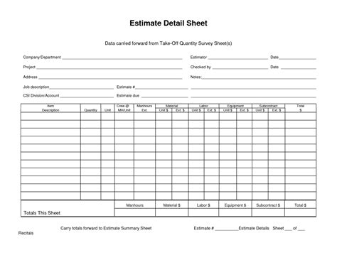 Take Sheet Template data carried forward from takeoff quantity survey sheet