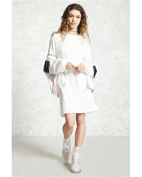 knit t shirt dress forever 21 jersey knit t shirt dress in white lyst