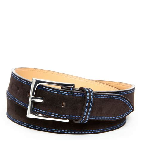 donald j pliner suede belt in brown for lyst