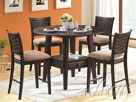 acme acme dresden 5 pc round counter height dining table set in 5 piece tommy counter height dining set with round table