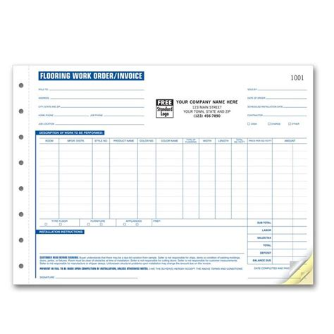 Flooring Contractor Invoice Work Order Designsnprint Flooring Installation Invoice Template