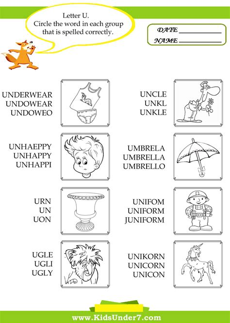 4 Letter Words Preschool worksheets letter u word for preschool opossumsoft