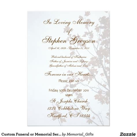 service announcement template custom funeral or memorial service announcement 5 quot x 7