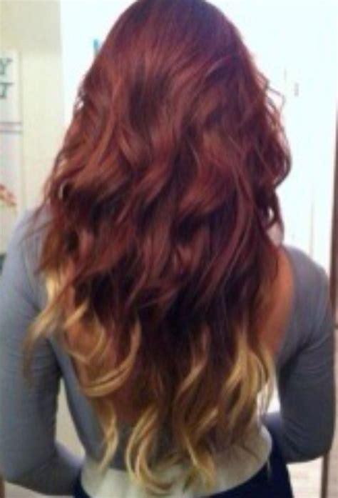 dip dyed red hairstyles brown red blond hair dip dye hair pinterest chang