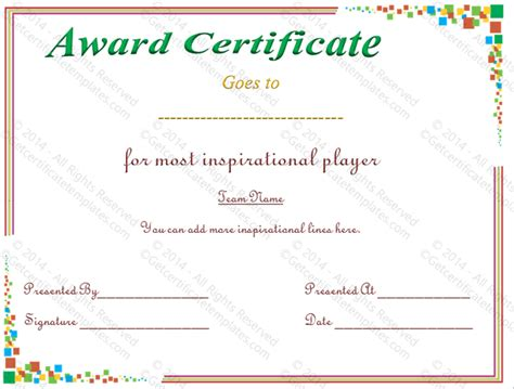 player of the day certificate template award certificate and team awards certificates template