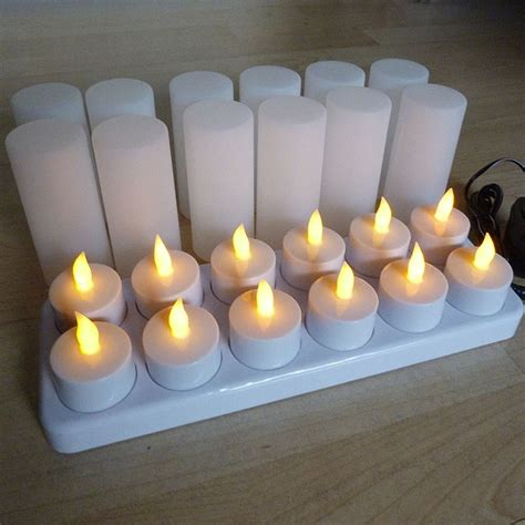 Tea Light Candles Uk by Set Of 12 Rechargeable Tea Lights With Candle Holders
