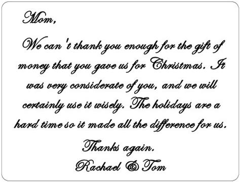 thank you letter to for money an exle of how to write a thank you note for a gift of