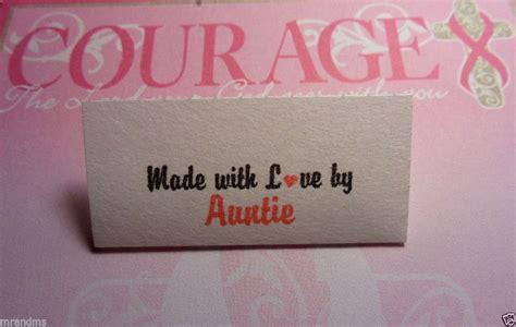 Sewing Labels Handmade By - special 40 handmade with by auntie sewing labels ebay