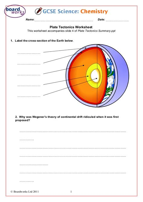 Volcanoes And Plate Tectonics Worksheet