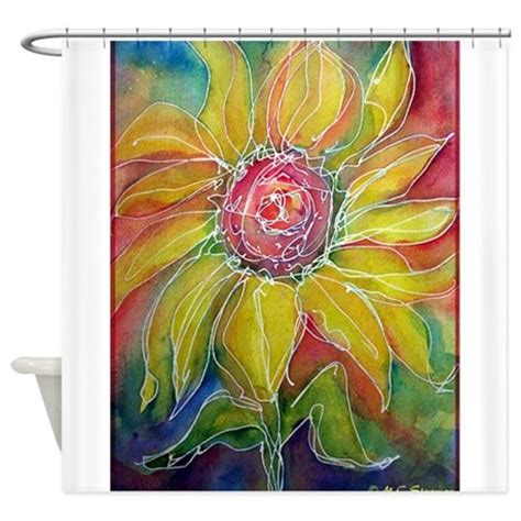 bright floral shower curtain sunflower bright flower art shower curtain by meowries