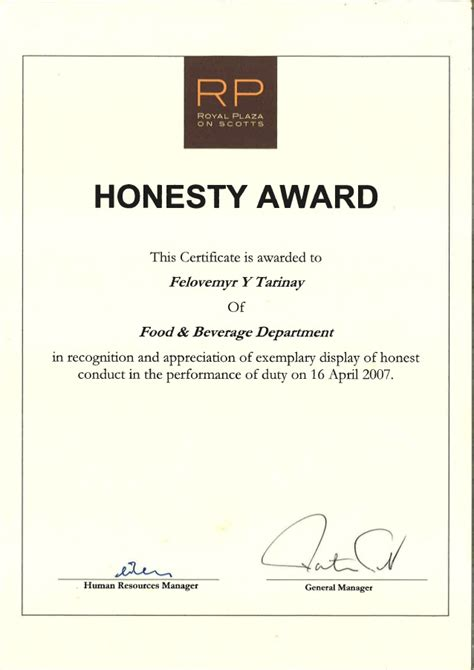 appreciation letter to employee for honesty honesty award