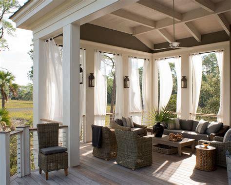 Yellow Outdoor Curtains   Mediterranean   porch
