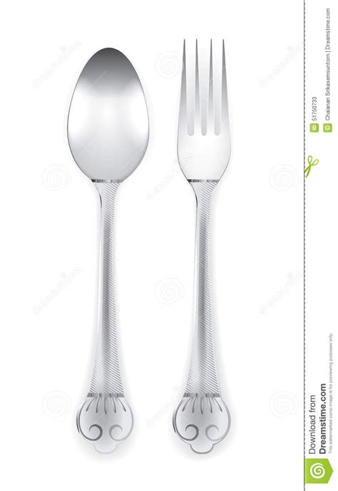 beautiful flatware beautiful silverware or flatware of fork and spoon isolated on white background stock