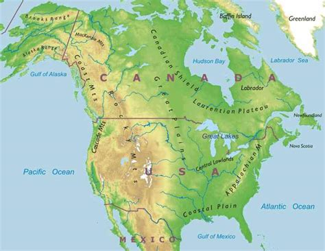 usa and canada physical features map grade 7 lesson 1