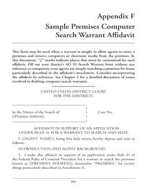 Sle Search Warrant Affidavit Fillable Clarkcunningham Sle Premises Computer