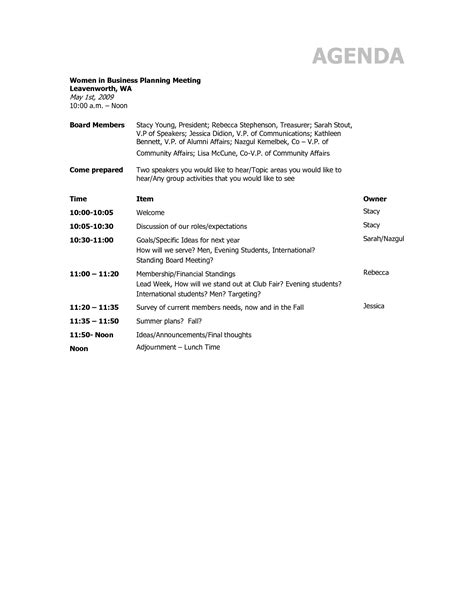 Business Meeting Agenda Template by Business Meeting Agenda Template Helloalive