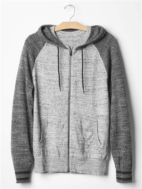 Jaket Sweater Hoodie Zipper Grey Salur 1 gap marled zip colorblock sweater hoodie in gray for charcoal grey lyst