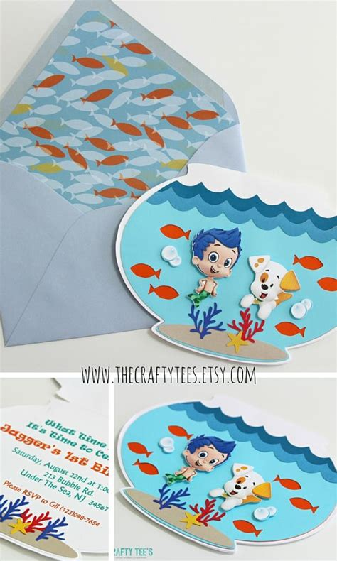 Guppies Invitation Cards guppies invitations fish bowl invitation